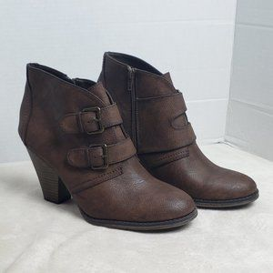 Mia Farris Brown Buckle Ankle Booties, Size 10